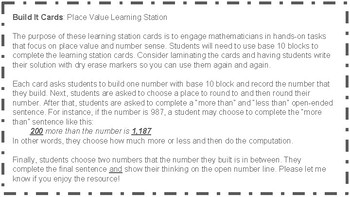 Build It Cards (B): Place Value Learning Station