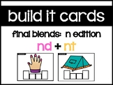 Build It Cards:  N Blends Task Cards (nd, nt)