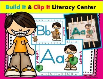 Build It & Clip It Alphabet Literacy Center (26 Alphabet Practice Cards)