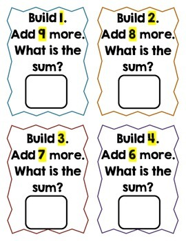 Build It! (Linking/Unifix Cube Addition Task Cards [Sums 0-10])