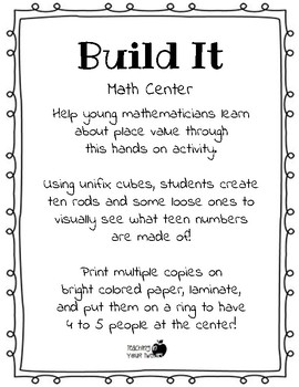 Build It Math Center - Teen Numbers