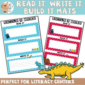 Build It, Read It, Say It, Write It Sight Word Mats - Dinosaur Theme