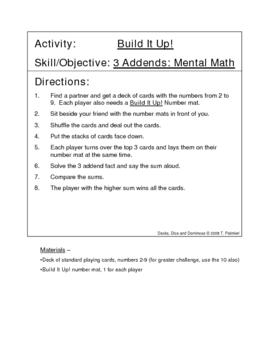 Build It Up! - 3 addends, mental math