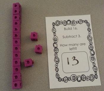 Build It Up Break It Down hands-on subtraction math center