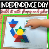 Build It With Shapes and Solve! Patriotic Pattern Block Puzzles | July 4th