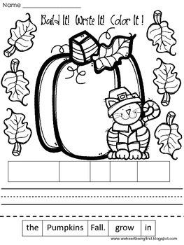 Build It! Write It! Color It! :  Back to School~ Word Work Activities