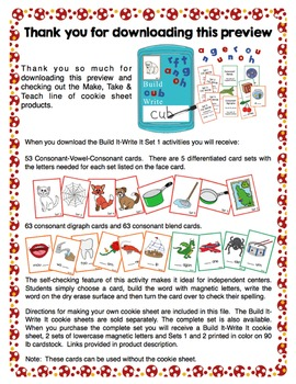 Build It- Write It Cookie Sheet Activities Set 1: CVC Words, Blends and Digraphs