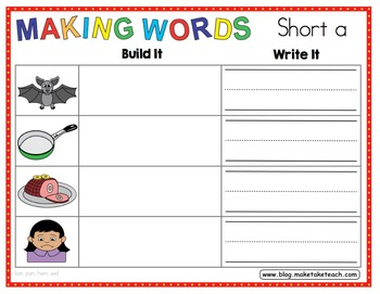 CVC Words - Build It- Write It for Short Vowels and CVC Words