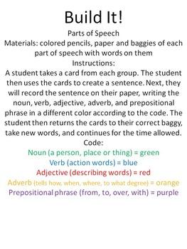 Build It parts of speech activity