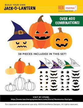 Build Jack O' Lantern Pumpkin Clip Art Set! Ready for Fall Fun!