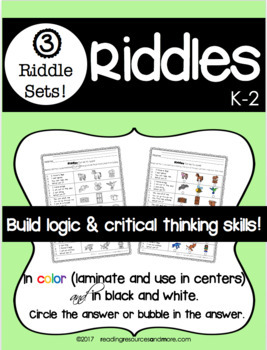 Riddles:  Build Logic and Critical Thinking Skills