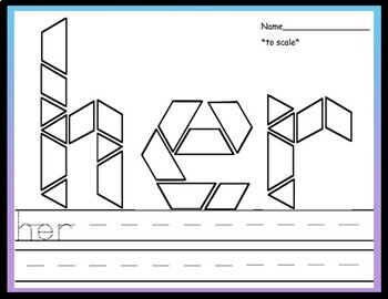 First Grade Literacy Centers with Pattern Blocks {41 Words!}
