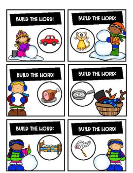 Phonics Word Building Task Cards (winter)