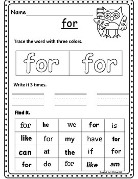 Build, Trace, Write, Find Sight Words