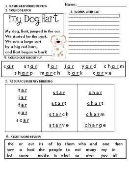 Build Up Phonics Extra Practice for ar as in car