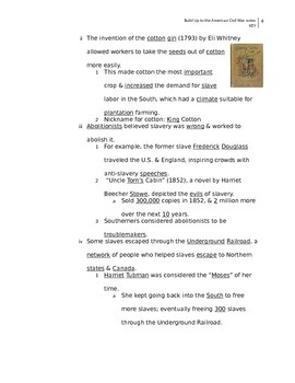 Build Up to the American Civil War notes (key)
