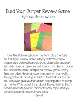 Build Your Burger Review Game