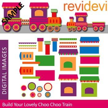 Build Your Lovely Choo Choo Train Clip art (DIY train)