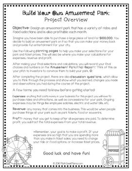 Build Your Own Amusement Park (Linear Equations Project)