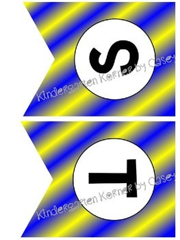 Build Your Own Banner Blue Gold Flag Pennants A to Z 0 to 9