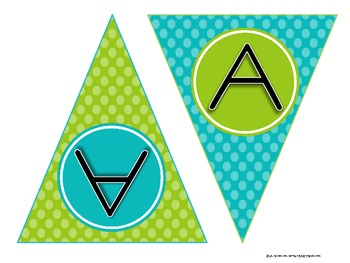 Build Your Own Banner: Green and Blue Polka Dots