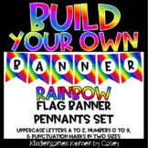 Build Your Own Banner RAINBOW Flag Pennants A to Z 0 to 9 Letters Numbers