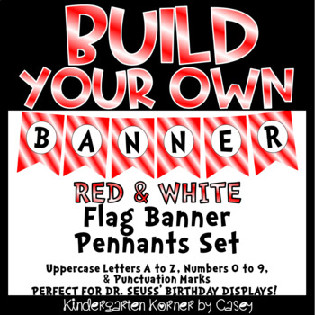 Build Your Own Banner Red and White Flag Pennants A to Z 0 to 9 Letters Numbers