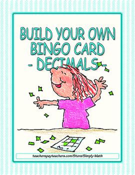 Build Your Own Bingo Card - Decimals