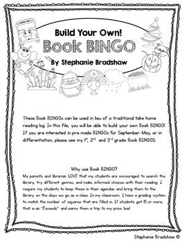 Build Your Own Book BINGO! (Alternative to Reading Log)