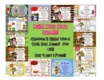 """Build Your Own Bundle: Choose Any 5 Sight Word """"Roll, Say,"""