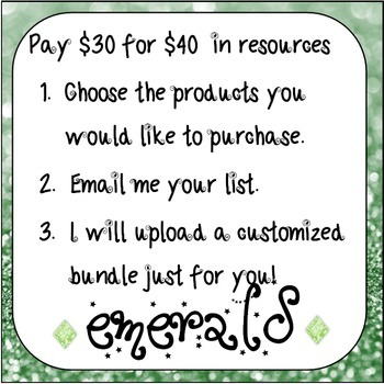 Build Your Own Bundle! Emerald Level- Pay $30 for $40 of resources