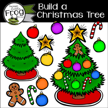 Build Your Own Christmas Tree Clip Art with Big and Small Ornaments