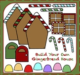 Build Your Own Gingerbread House - Christmas Clipart - Gin