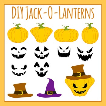 Build Your Own Halloween Jack O Lantern Clip Art Set for Commercial Use