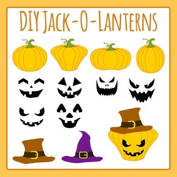 Build Your Own Halloween Jack O Lantern Clip Art Set for C