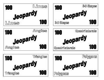 Build Your Own Jeopardy -Lines, Angles, Polygons, Triangles, Quadrilaterals, 3-D