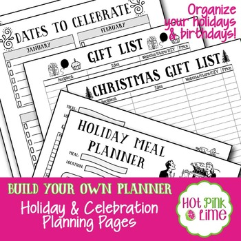 Build Your Own Planner:  Holiday & Celebration Planning Pages Add-On
