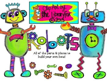 Build Your Own Robots Clip Art for Personal or Commercial Use