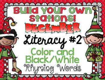 Build Your Own Stations {December} Literacy #2  {Rhyming Words}