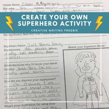 Create Your Own Superhero Worksheet - Great for Subs, Middle & High School!