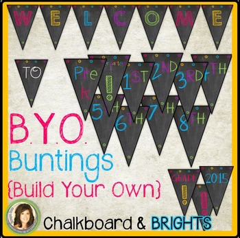 Build Your Own Welcome Bunting / Banner {Chalkboard, White