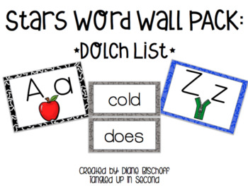 Build Your Word Wall: Black & White Star Headers