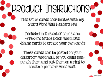 Dolch Word Wall Cards (Stars)
