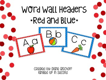 Build Your Word Wall: Red and Blue Chevron Headers