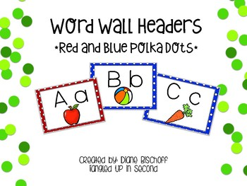 Build Your Word Wall: Red and Blue Polka Dot Headers