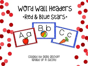 Build Your Word Wall: Red and Blue Polka Star Headers