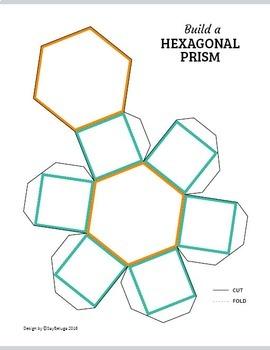 Build a 3D hexagonal prism – foldable geometry shape net