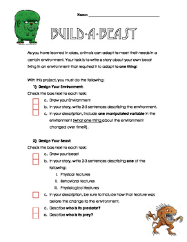 Build-a-Beast: Adaptations Activity