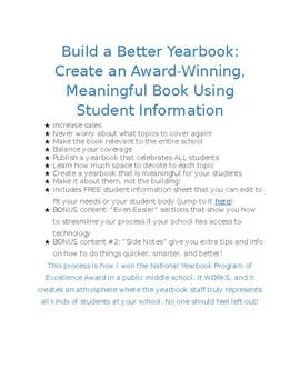 Build a Better Yearbook: Create an Award-Winning Book Using Student Info