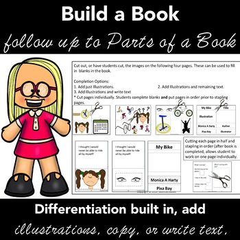 Kinder,1st Gd Become the Author and Illustrator - Parts of a Book Activities